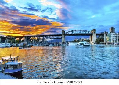 Granville Island Burrard Street Bridge Yachts Apartment Buildings Vancouver British Columbia Canada