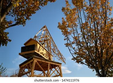 Granville Island Industrial Crane. A historic crane on Granville Island. Vancouver, British Columbia.