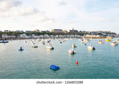 Granville, Normandy, France - August 25, 2018: The harbour of Granville. View of the old city in the port. Granville, Normandy, France