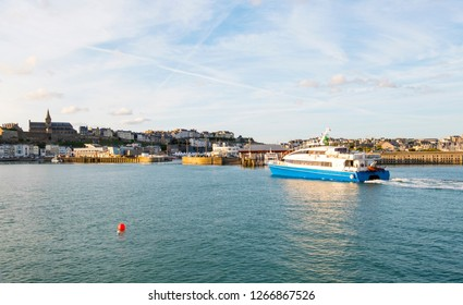 Granville, Normandy, France - August 25, 2018: A high speed ferry boat in the Harbor of Granville. Normandy, France.