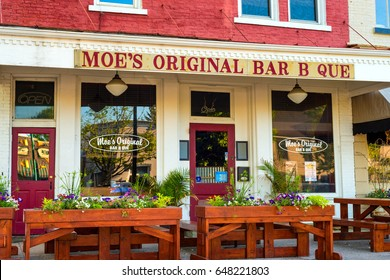 GRANVILLE, OH - MAY 15, 2017: With over 60 locations, Granville is so far its only Ohio location for Moe's Bar B Que, which serves Alabama-style BBQ and southern comfort food.
