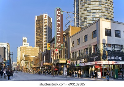 GRANVILLE STREET - JAN 5, 2017: Vancouver Building was completed 1912 by the intersection of Granville and Georgia in downtown Vancouver as a symbol of the Edwardian optimism and rapid growth economy