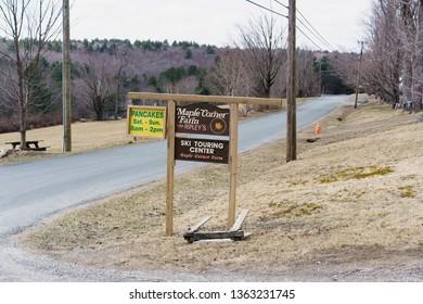 Granville / USA - April 2019: The sign of the Maple Corner Farm in Granville during sugaring season.
