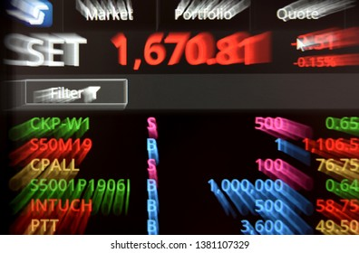 A grap photo shows electronic displayed of Thai share price in Bangkok on April 26, 2019.