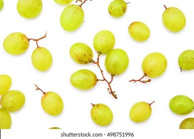 grape berries top view overhead shot yellow heap of ripe layout background isolated on white