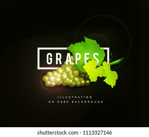 Grape branch with yellow green grapes. Realistic illustartion