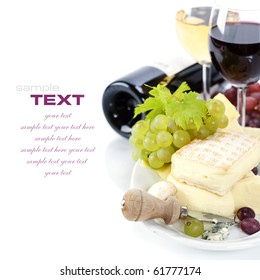 Grape and cheese with a bottle and glasses of red and white wine (with sample text)
