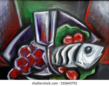 Grape with glass and fish
