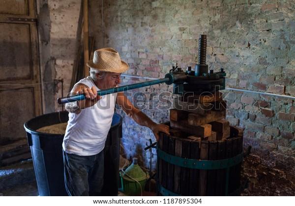Récolte de raisins: viticulteur travaillant sur une presse à vin vintage