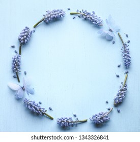 Grape hyacinth flower with butterfly flat lay