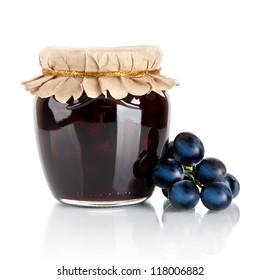 grape jam isolated on white