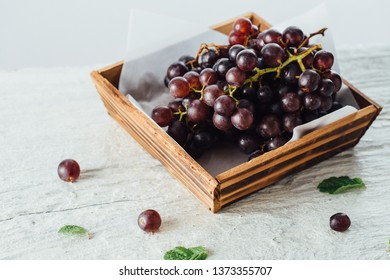 grape on wooden table background
