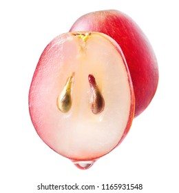 Grape seed oil. Grape juice drop. Clear piece. Slice of grapes