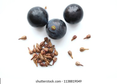 grape and seeds isolate on white background