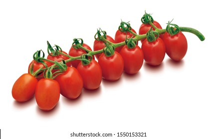 Grape tomatoes isolated on white background. Fresh red vegetable hanging on branch.