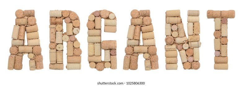 Grape variety Argant  made of wine corks Isolated on white background