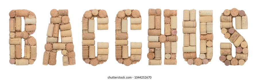 Grape variety Bacchus made of wine corks Isolated on white background