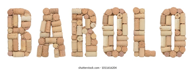 Grape variety Barolo made of wine corks Isolated on white background