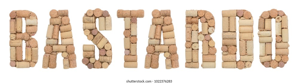 Grape variety Bastardo made of wine corks Isolated on white background