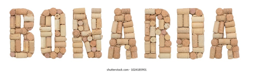 Grape variety Bonarda made of wine corks Isolated on white background