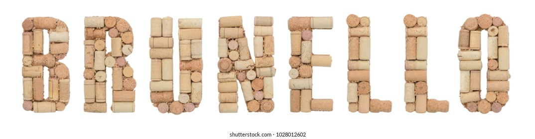 Grape variety Brunello made of wine corks Isolated on white background