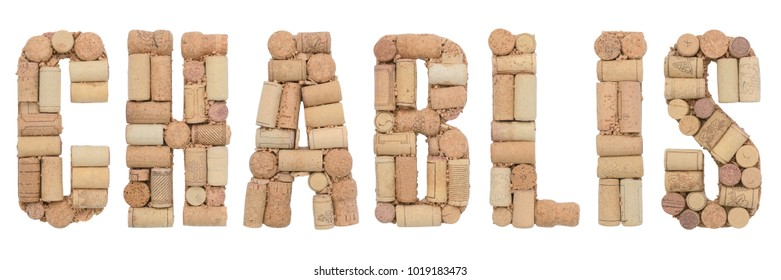 Grape variety Chablis made of wine corks Isolated on white background