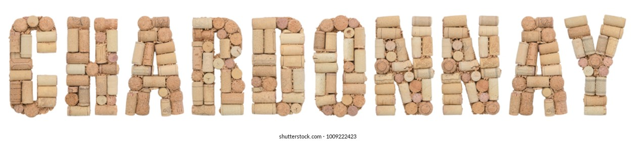 Grape variety Chardonnay made of wine corks Isolated on white background