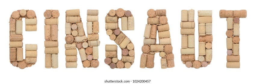 Grape variety Cinsaut made of wine corks Isolated on white background