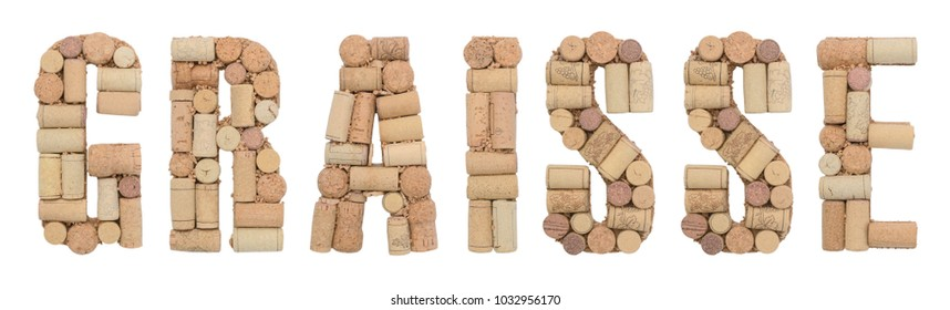 Grape variety Graisse  made of wine corks Isolated on white background