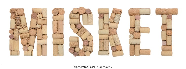 Grape variety Misket  made of wine corks Isolated on white background