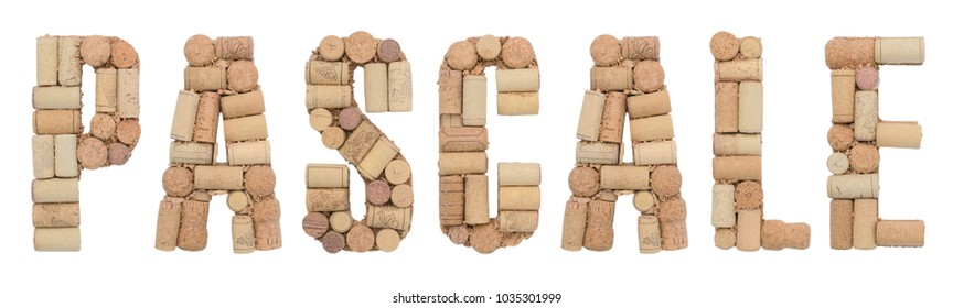 Grape variety Pascale made of wine corks Isolated on white background