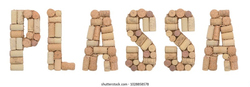 Grape variety Plassa made of wine corks Isolated on white background