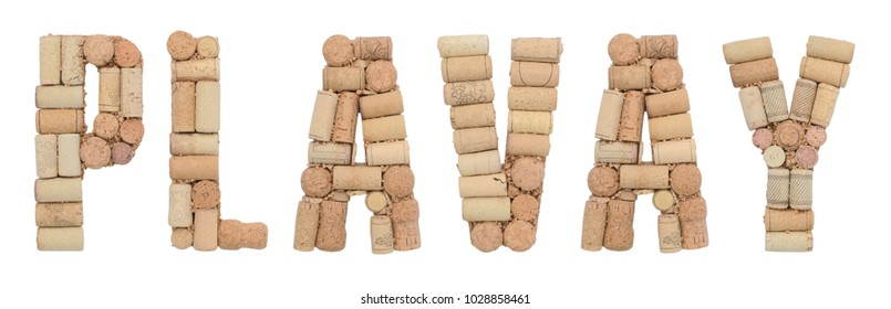 Grape variety Plavay made of wine corks Isolated on white background