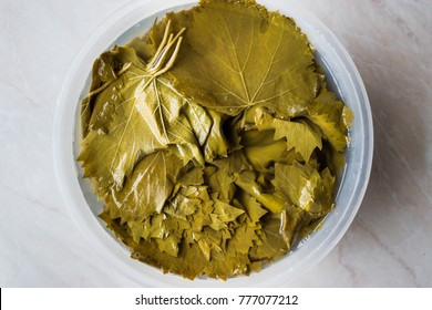 Grape or Vine Leaves in bottle of water for Turkish Dolma