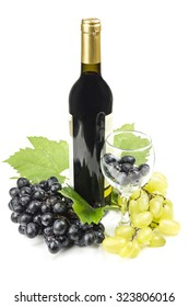 Grape wine and grapes with green leaves on a white background.