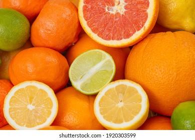 Grapefruit with assorted fruits. Vitamin Fruit Basket