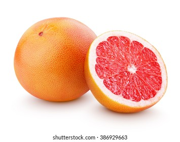 Grapefruit citrus fruit with half isolated on white with clipping path