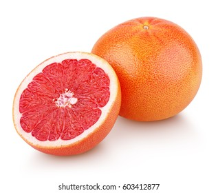 Grapefruit citrus fruit with half grapefruit isolated on white background. Whole grapefruit and half with clipping path