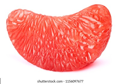 Grapefruit fruit pulp flesh slice isolated on the white background with clipping path. One of the best isolated grapefruits pulps flesh slices that you have seen.