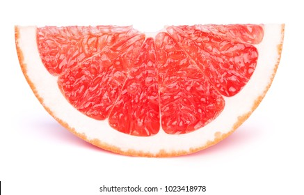 Grapefruit fruit slice isolated on the white background with clipping path. One of the best isolated grapefruits slices that you have seen.