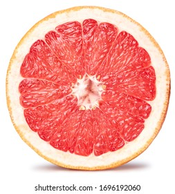 Grapefruit fruit. Grapefruit slice isolated on white background. Grapefruit with clipping path.