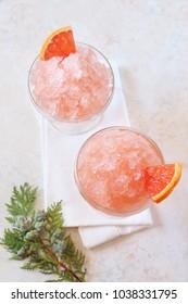 Grapefruit granita, frozen summer dessert, selective focus, top view