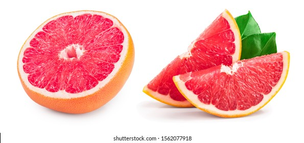 Grapefruit half isolated on white background close up