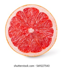 Grapefruit isolated on white background. Round slice of fresh fruit. With clipping path.