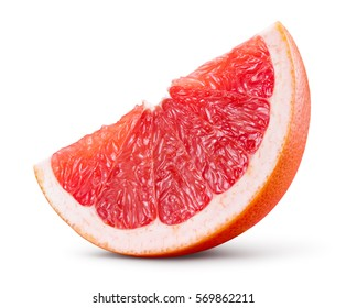 Grapefruit isolated on white background. Piece of fresh fruit. With clipping path.