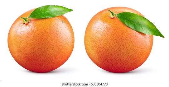 Grapefruit with leaf isolated on white background. With clipping path. Full depth of field. Collection.