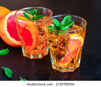 grapefruit lemonade with ice Menu concept healthy eating. food background top view copy space for text healthy eating table setting keto or paleo diet organic
