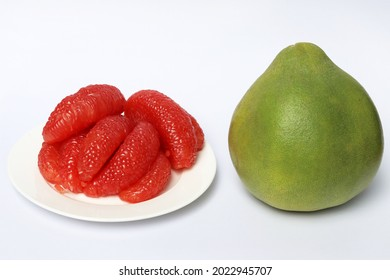 Grapefruit ruby of Siam or fresh red pomelo on white background, Thailand Siam ruby pomelo citrus fruit.