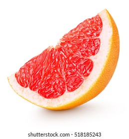 Grapefruit slice - cut of grapefruit citrus fruit isolated on white with clipping path