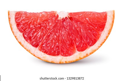 Grapefruit slice isolated. Grapefruit slice on white. Clipping path.